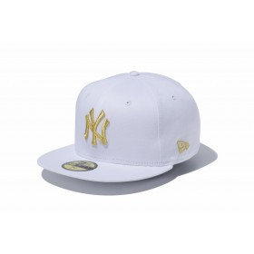 NEW ERA ニューエラ 59FIFTY MLB ニューヨーク・ヤンキース ホワイト × ゴールド ベースボールキャップ キャップ 帽子 メンズ レディース 7 (55.8cm) 11308530 NEWERA
