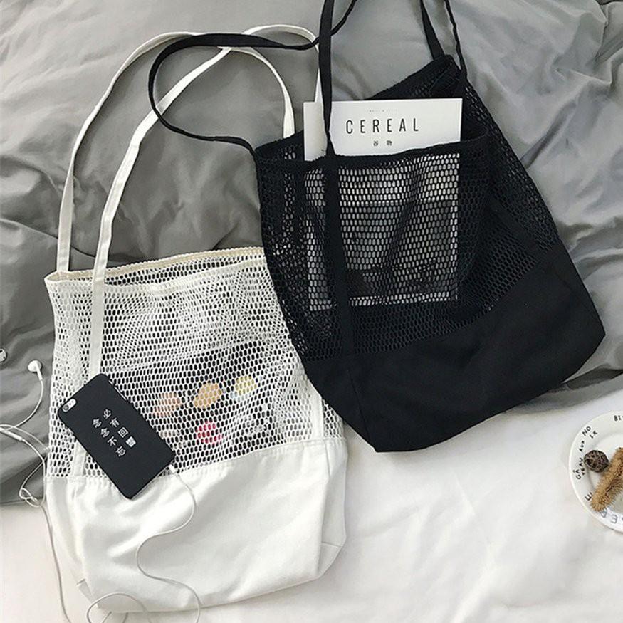 簡約網格手提包 購物袋網眼镂空沙灘包 網眼镂空沙灘包帆布包 時尚個性網格 女包 手提包購物袋單肩包韓版