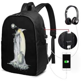 リュック バックパック リュックサック ビジネスバッグ ショルダーバッグ ペンギン 動物 かわいい イヤホンポート付き USB充電ポート付き 旅行バッグ ラップトップバック 男女兼用 大容量 多機能 防水加工 盗難防止 耐衝撃 手提げ