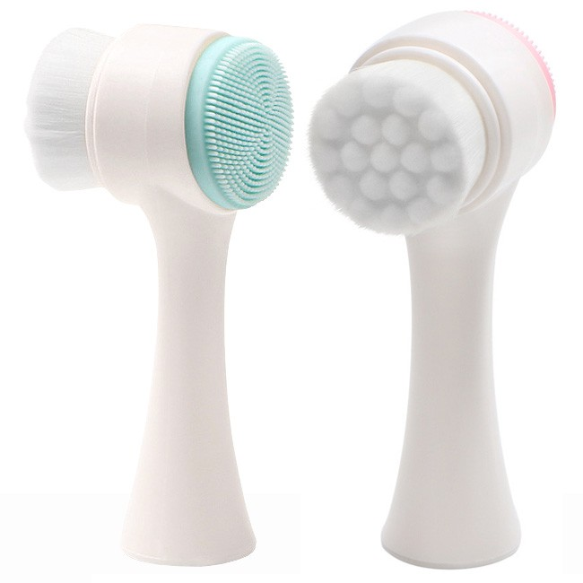 3D按摩雙面洗臉刷D125-WS01矽膠雙頭潔顏刷.纖毛洗臉神器.軟毛刷子洗臉機.臉部清潔刷洗顏刷.美容棒刷具化妝刷