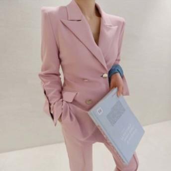 ピンク2Pセットアップ レディース スーツ上下セット アフター ジャケット ダブル ボトムス パンツ スレンダー オフィス カッコイイ
