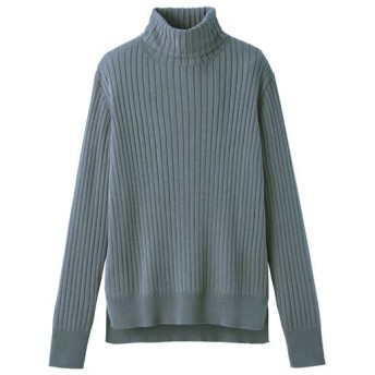 40%OFF【レディース】 リブ編みタートルネックニット ■カラー:スモークブルー ■サイズ:S,M,L,LL