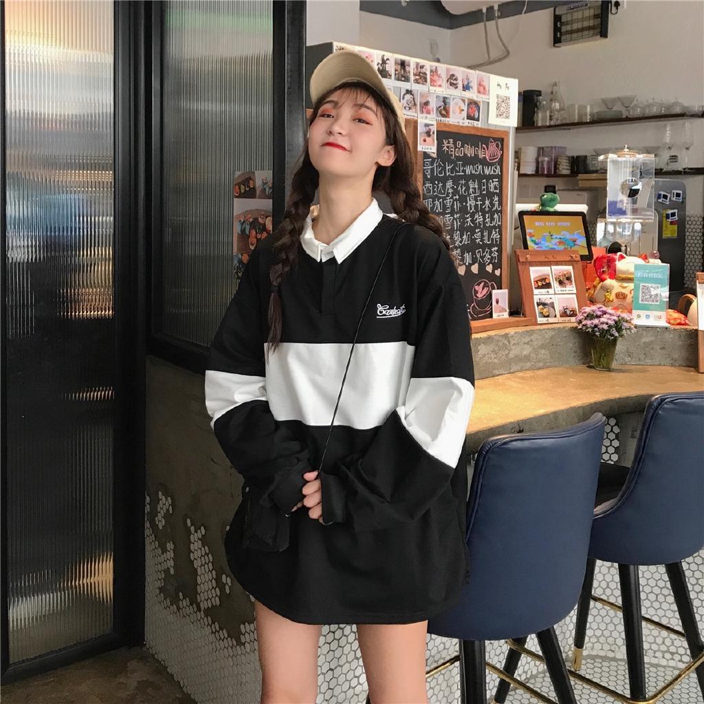 [嬌戀主角]韓版薄款 POLO領大學t 條紋拼色 長袖 打底衫 閨蜜裝 班服 情侶裝 女生衣著