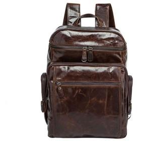 メンズバッグ ハンドメイドレザーバックパックトラベルバックパックヴィンテージハンドメイドフルグレインレザーバックパックトラベルバックパックリュックサックメンズファッション レザーバッグ (Color : Brown, Size : S)