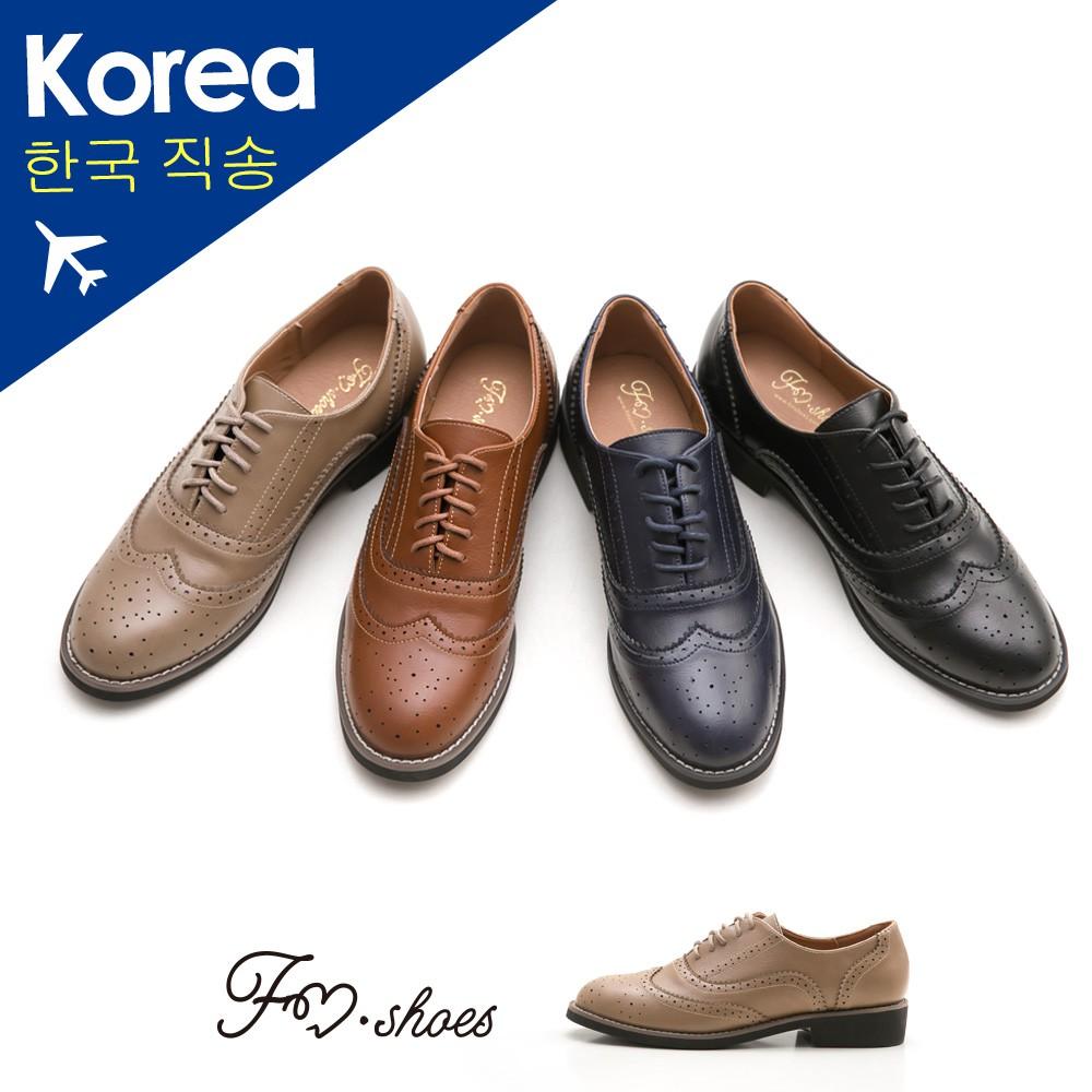 【FMSHOES】韓-翼紋雕花牛津鞋﹝藍、卡其﹞-00007567