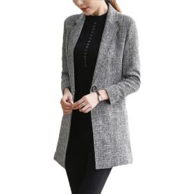 BYWX 女性の正式なブレザーさりげないオフィスウェアロングスリーブミッド丈ジャケット Grey US XL
