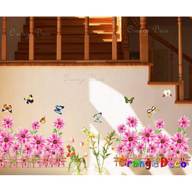 【橘果設計】粉色向日葵 壁貼 牆貼 壁紙 DIY組合裝飾佈置