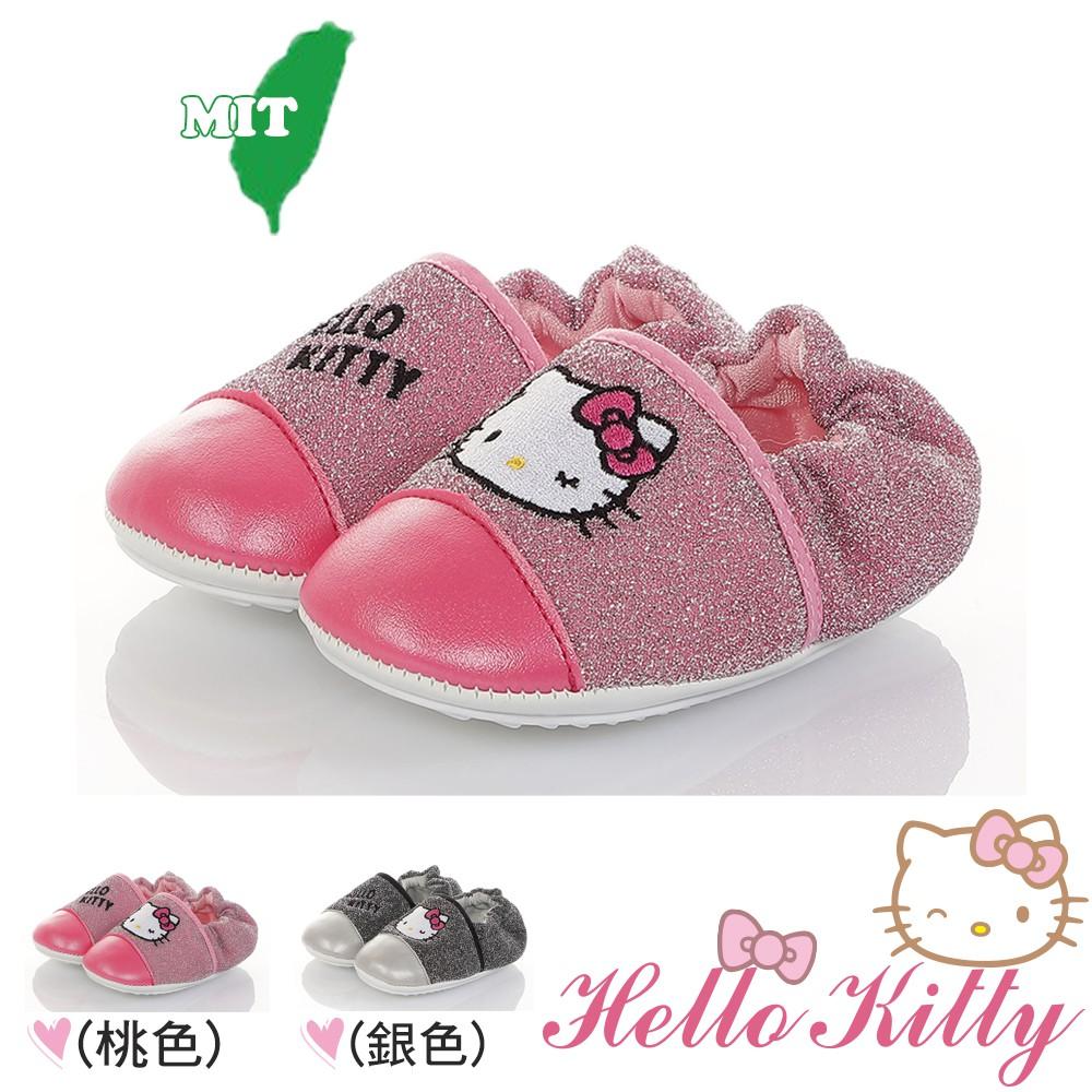 Hello Kitty童鞋 12.5-14.5cm 金蔥輕量柔軟減壓寶寶學步鞋 桃.銀(聖荃官方旗艦店)
