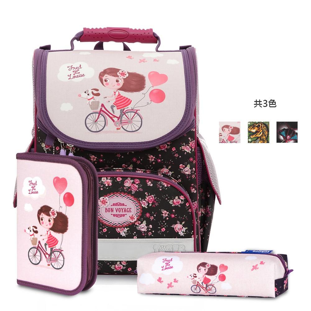 Tiger Family歐洲插畫家款小貴族超輕量護脊書包+文具袋+鉛筆盒-單車少女(國小 小一 大容量 一年級 大容量