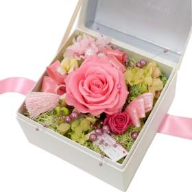 花由 プリザーブドフラワー ボックスフラワー hanacube 白箱 10月 ピンクトルマリン マケプレプライム便