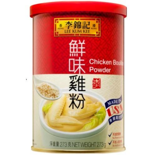 說明 商品名稱 : 【李錦記】鮮味雞粉(273G/罐) 品牌 : 李錦記 商品種類 : 雞粉 數量 : 罐 保存方式 : 請用膠蓋封密存放於陰涼乾爽處 食用方式 : 放一茶匙(5克)鮮味雞粉於一杯(2