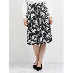 タカキュー タックフレアースカート 花柄 レディース ブラック L 【TAKA-Q】