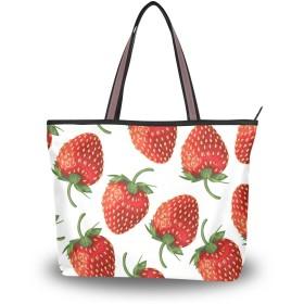 MASAI トートバッグ イチゴ柄 レッド 果物 大容量 レディース 軽量おしゃれa4肩掛け 2way ファスナー付き布通勤通学