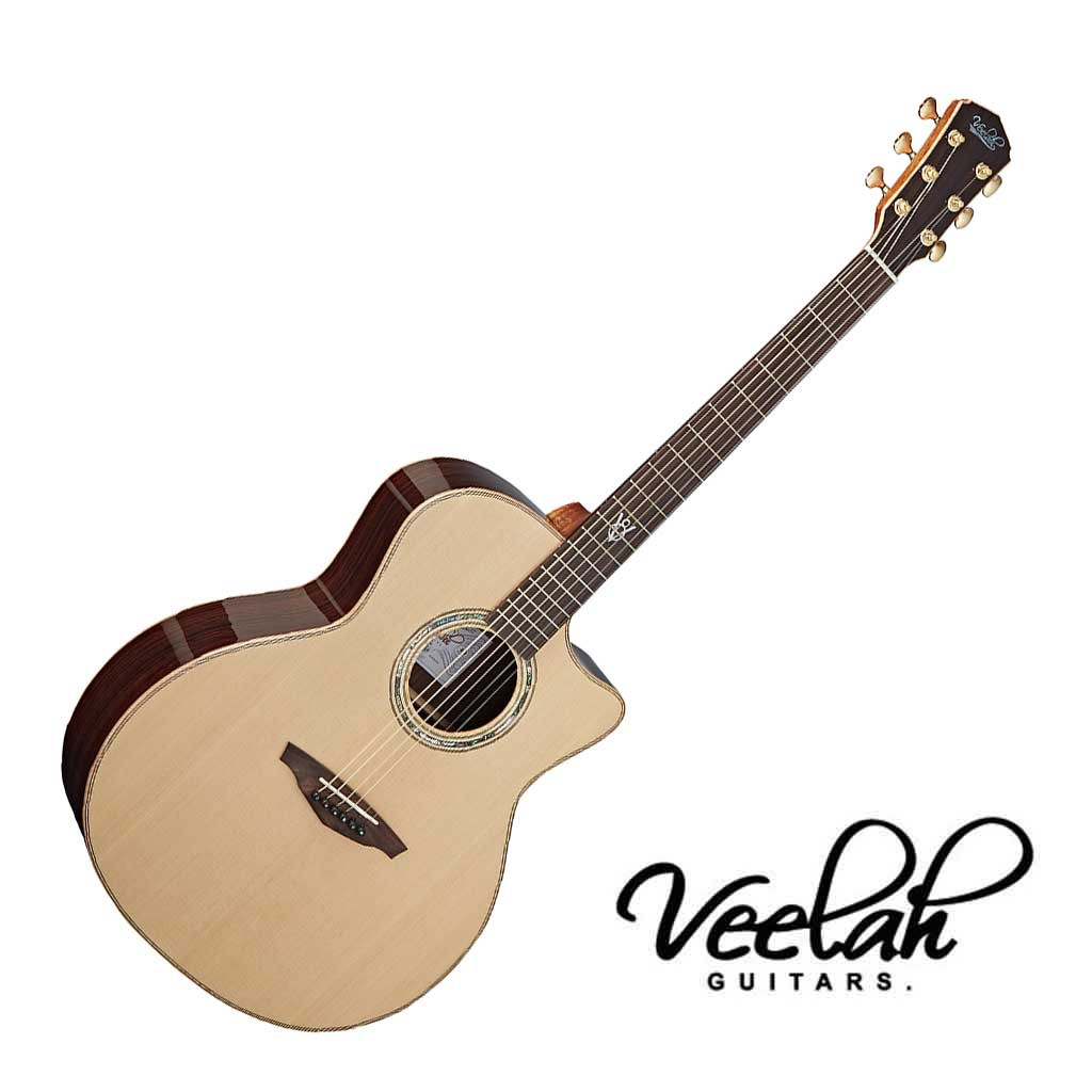 Veelah V8 GAC 民謠吉他41吋 全單 雲杉面板 印度玫瑰木背側 - 【黃石樂器】
