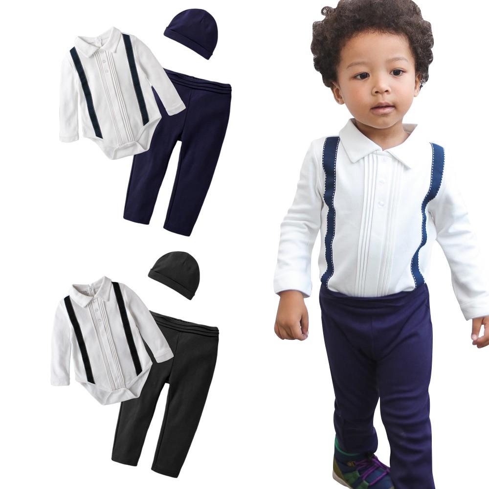 baby童衣長袖套裝 小西裝型 假吊帶 套裝 包屁衣 長褲 男寶寶 小紳士 爬服 哈衣 3件套 60195