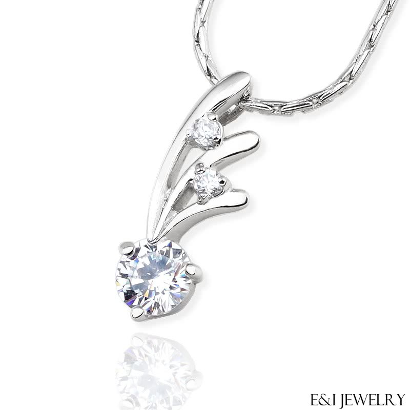 【E&I】- 天使羽翼 - 八心八箭CZ鑽925純銀項鍊