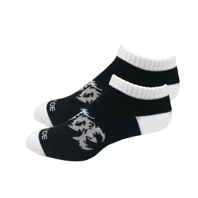 Air Toe 黑底白腳跟搖滾字短襪 -黑