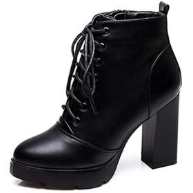 [MAMRE] ブーティー 黒(裏ボア) レディース 22.0cm ショートブーツ サイドジップ 履きやすい コンフォート アーモンドトゥ ハイヒール 7cmヒール シンプル 可愛い 美脚 軽量 快適 歩きやすい カジュアル 通勤 OL 外出 靴 アンクルブーツ