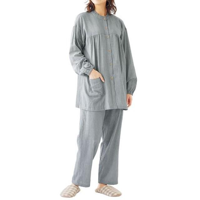 【レディース】 ダブルガーゼのフリルネックパジャマ(綿100%) ■カラー:グレー系 ■サイズ:M,L,LL