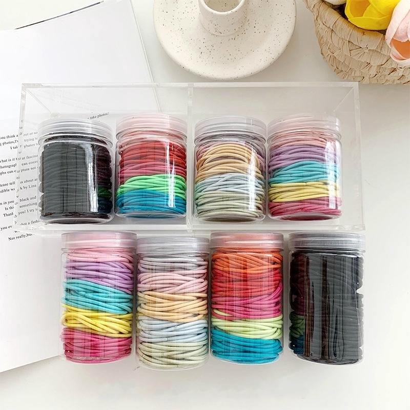罐装100条 ins簡約發繩糖果色發圈基礎百搭皮筋扎頭發頭繩發飾 F204