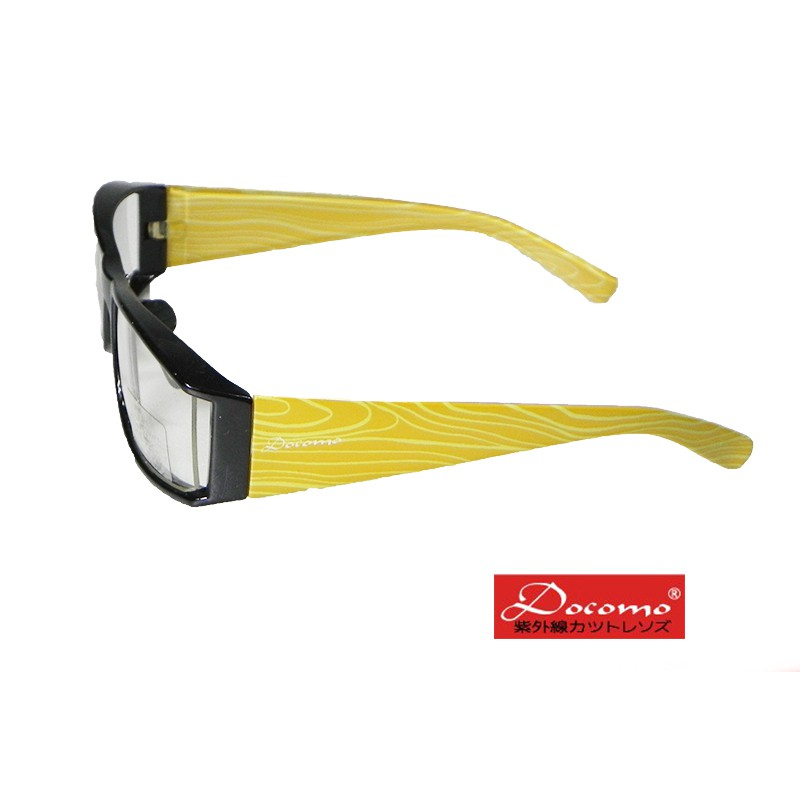 【Docomo品牌】類版材鏡架 可調式鼻墊 舒適耐用 抗紫外線+強光+反射光 活力黃色腳架