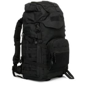 アウトドア旅行バッグ60L登山のバックパックレインカバー肩の軍事ファン,黒