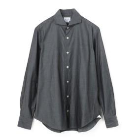 GIANNETTO / シャンブレーホリゾンタルカラーカジュアルシャツ グレー/MEDIUM(エストネーション)◆メンズ シャツ/ブラウス