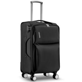 Langxj hj TSAロック搭載 スーツケース ソフトケース 超軽量 AIR6327(solite) ファスナー開閉式 S型国内・国際線機内持込可 5色3サイズ902 (S, ブラック)