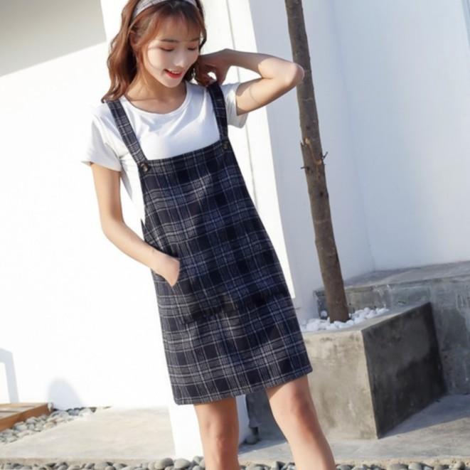 韓版新款秋季復古學院風顯瘦格子拼接毛呢背帶短裙學生洋裝