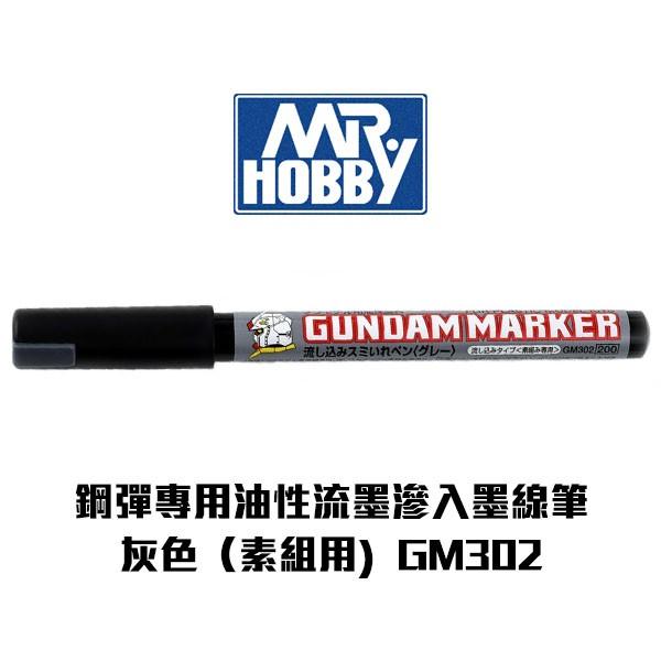 【Gunze郡氏】鋼彈專用油性麥克筆 流墨滲入墨線筆(素組用) 灰色 GM302