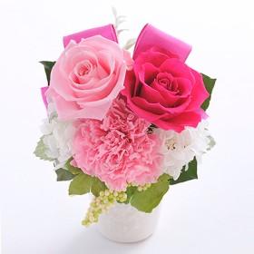 [ベル・フルール]バラとリボンのアレンジメント ピンク 7,000円未満