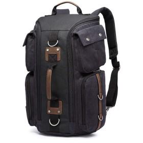 メンズバッグ 二つの方法を使用するキャンバス防水バッグアウトドアリュックリュック大容量のカジュアルファッションのバックパック レザーバッグ (Color : Gray, Size : 271848cm)