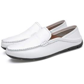 ローファー メンズ ビジネスシューズ 26.5cm 本革 ドライビングシューズ モカシン ホワイト 靴 デッキシューズ 軽量 防滑 通気 厚底 通勤 通学 通勤 歩きやすい ローファー トラディショナル メンズ ドライビングシューズ メンズシューズ