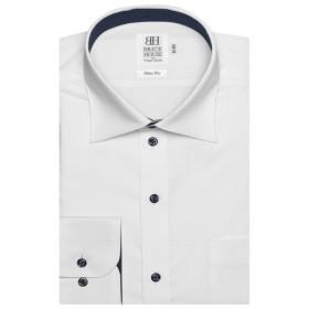 [マルイ] 形態安定 ノーアイロン 長袖ワイシャツ ワイド 白×ストライプ織柄 スリム/ブリックハウス(BRICKHOUSE)