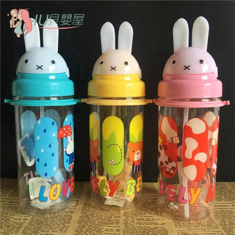 兒童背帶可愛卡通兔子學飲杯 防摔嬰兒寶寶吸管水杯子 塑料杯直飲水壺400-500ml【IU貝嬰屋】