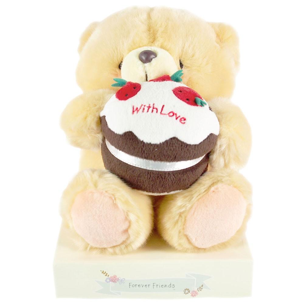 【Hallmark-ForeverFriends 絨毛-生日系列】8吋/草莓蛋糕絨毛熊