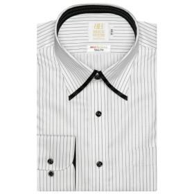 [マルイ] 形態安定 ノーアイロン 長袖ワイシャツ マイター スナップダウン 白×黒ストライプ スリム/ブリックハウス(BRICKHOUSE)