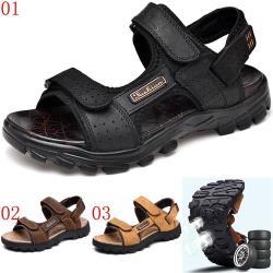 JHS杰恆社ylw45男鞋拖鞋夏季男士真皮涼鞋防滑兩用戶外運動休閒沙灘鞋 預購