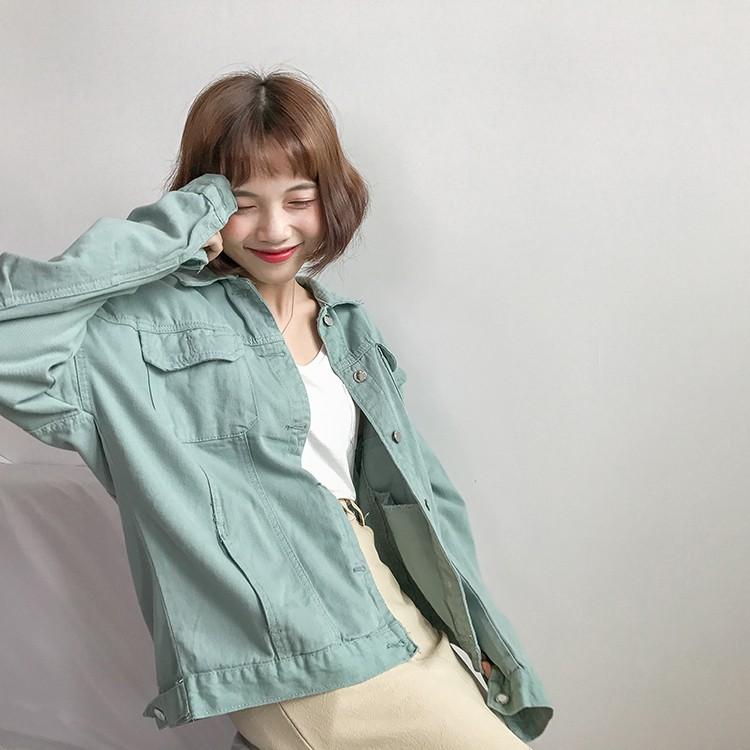 4色可選 牛仔外套 復古百搭單排扣 長袖牛仔外套 寬鬆 百搭 合身休閒 素色夾克衫上衣 閨蜜裝 姐妹裝