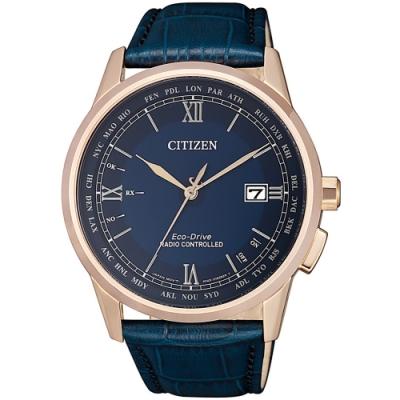 CITIZEN星辰 光動能萬年曆電波手錶(CB0152-24L)-42.7mm