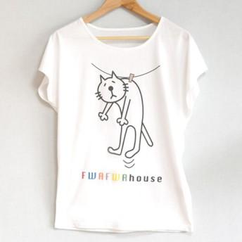 【復刻/再販】ネコぱん吊るされTシャツ レディース ドルマンホワイト Mサイズ