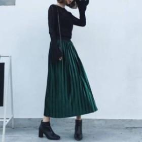 新作 スカート ロングスカート レディース 大きいサイズ ベルベット ロング丈 プリーツスカート ハイウエスト ベロアスカート