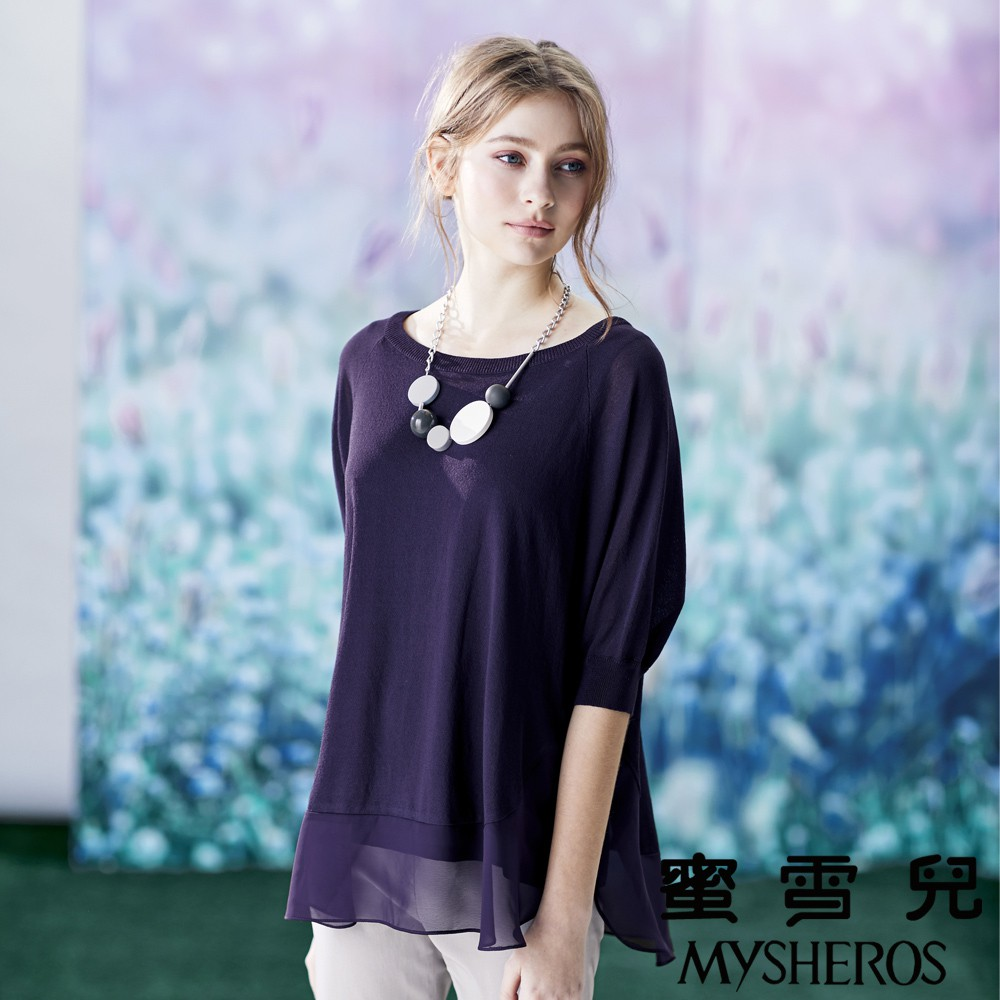 蜜雪兒MySHEROS-針織拼接雪紡蝴蝶袖造型上衣-紫8210-34275-80