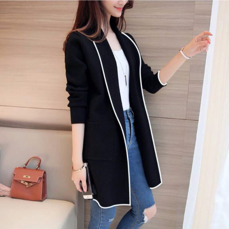 外套 長袖外套 冬季新款韓版中長款素色開衫寬鬆長袖外套女
