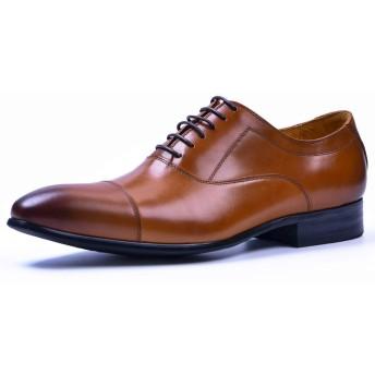 [ASTON M.JAZZ] ビジネスシューズ 本革 メンズ 内羽根 紳士靴 G-611 ブラック/ワインレッド/ブラウン 23.5cm-27.5cm (24.5cm, ブラウン)