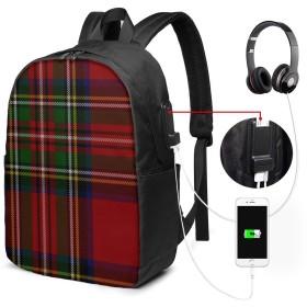 Scottish Tartan Plaid USBバックパッククラシックコンピューターバッグ17インチラップトップバックパック旅行ビジネスラップトップバックパックユニセックス大容量で耐久性のあるバックパック