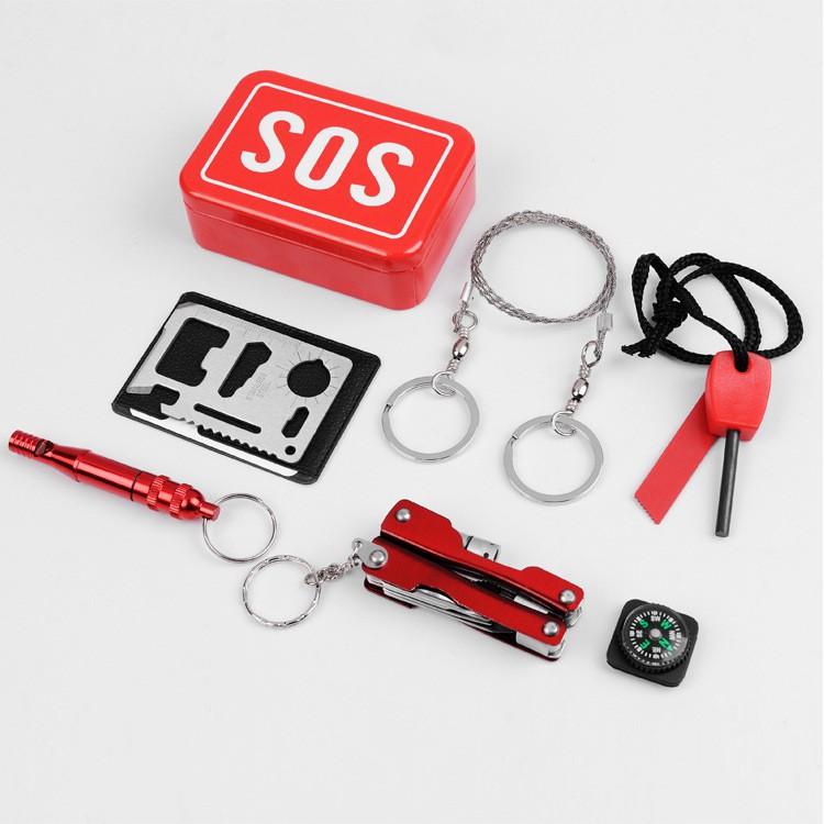 戶外多功能急救盒 應急用品 戶外自救生存裝備 方便攜帶急救包 SOS緊急生存工具箱
