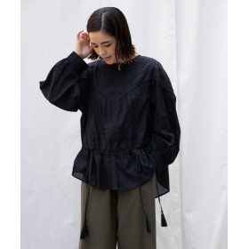 【10%OFF】 ランドワーズ Chikan(刺繍)エンブロイダリーボリュームブラウス レディース ブラック F 【LANDWARDS】 【セール開催中】