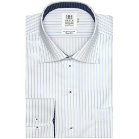 ブリックハウス ワイシャツ 長袖 形態安定 ワイド ピマ綿100% スリム メンズ BM019500AB11W4X-14 ブルー M-80