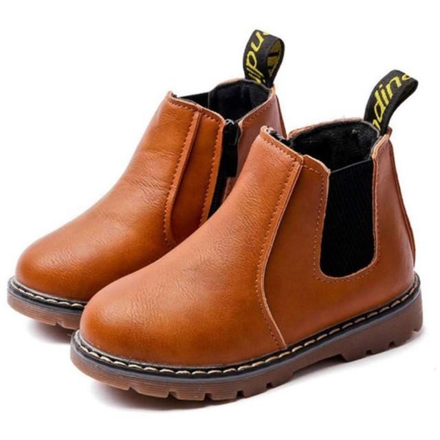 [マリア] ショートブーツ キッズ 子供用 裏起毛 マーティンブーツ マーティン靴 防寒靴 男の子 女の子 イギリス風 ブラウン(裏起毛) 【29】